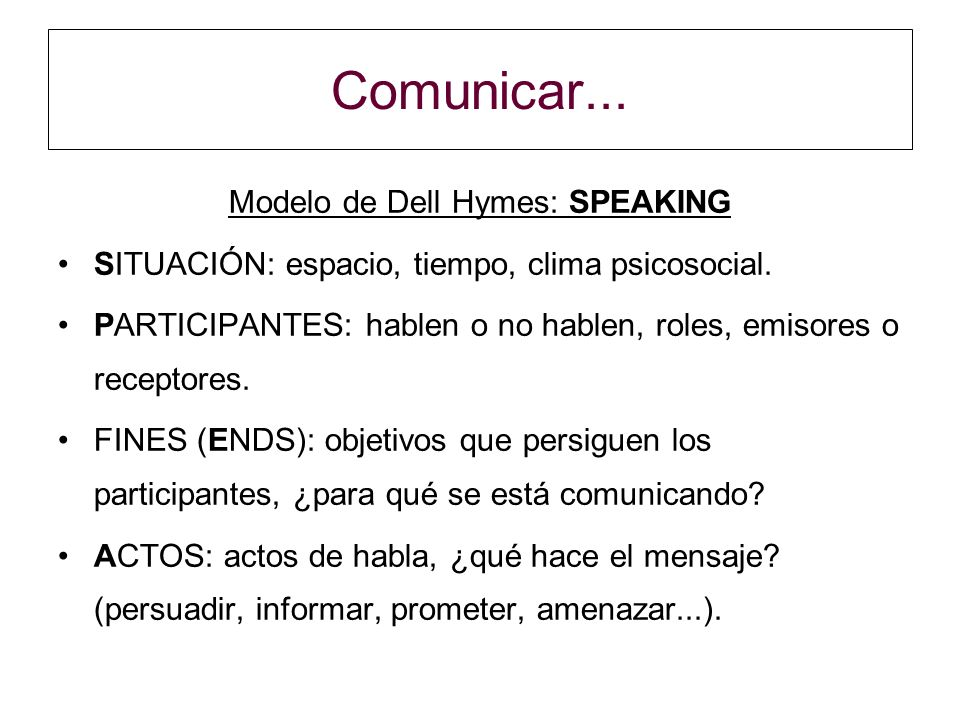 Modelo de Dell Hymes: SPEAKING