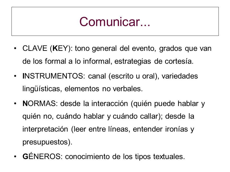 Comunicar... CLAVE (KEY): tono general del evento, grados que van de los formal a lo informal, estrategias de cortesía.