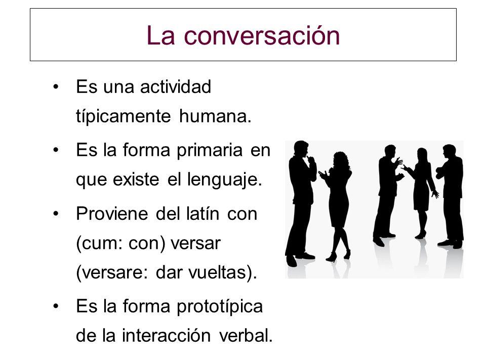 La conversación Es una actividad típicamente humana.