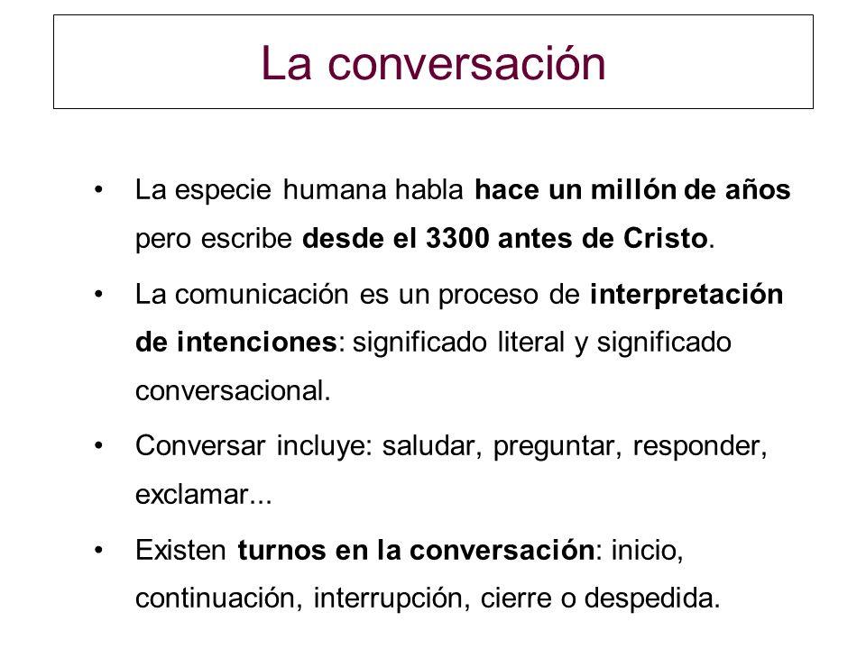 La conversación La especie humana habla hace un millón de años pero escribe desde el 3300 antes de Cristo.