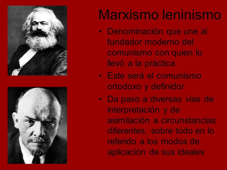 Marxismo leninismo Denominación que une al fundador moderno del comunismo con quien lo llevó a la práctica.