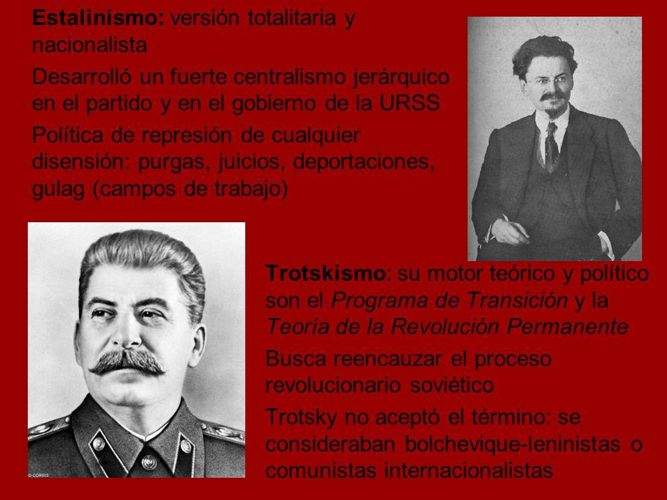 Estalinismo: versión totalitaria y nacionalista Desarrolló un fuerte centralismo jerárquico en el partido y en el gobierno de la URSS Política de represión de cualquier disensión: purgas, juicios, deportaciones, gulag (campos de trabajo)