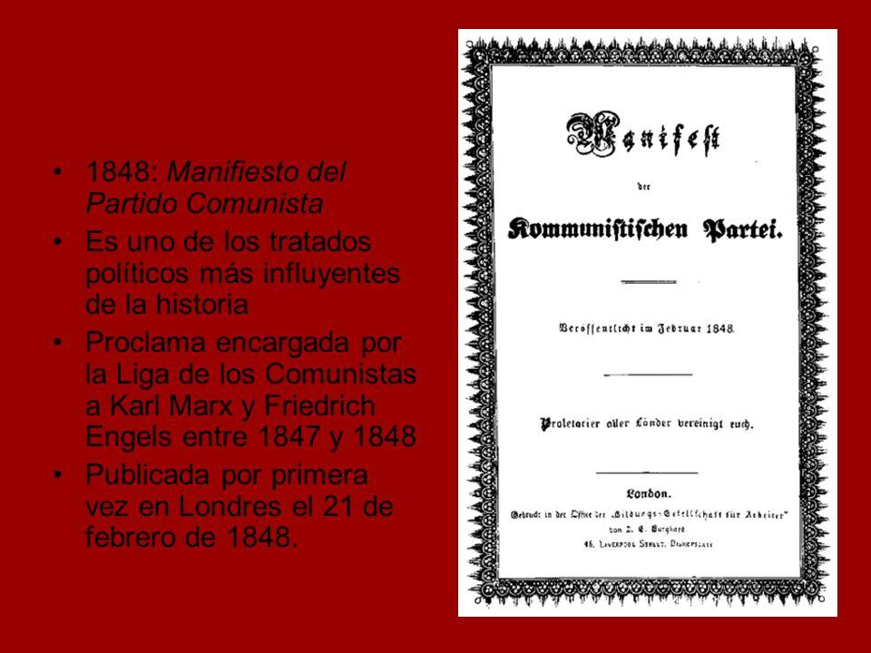 1848: Manifiesto del Partido Comunista