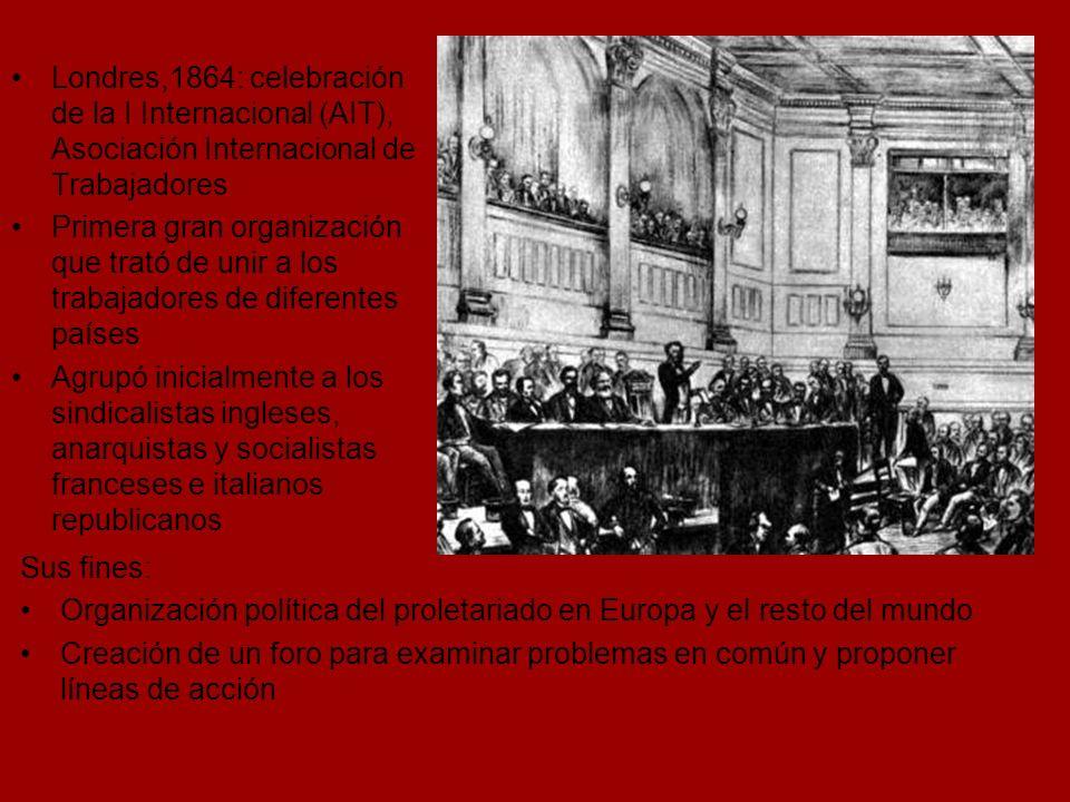 Londres,1864: celebración de la I Internacional (AIT), Asociación Internacional de Trabajadores