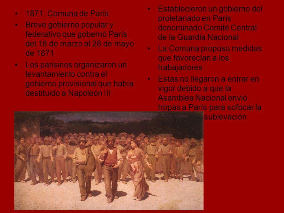 Establecieron un gobierno del proletariado en París denominado Comité Central de la Guardia Nacional