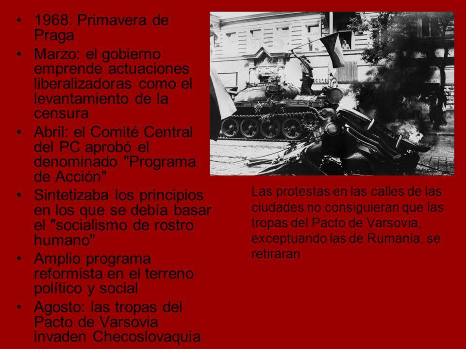 1968: Primavera de Praga Marzo: el gobierno emprende actuaciones liberalizadoras como el levantamiento de la censura.