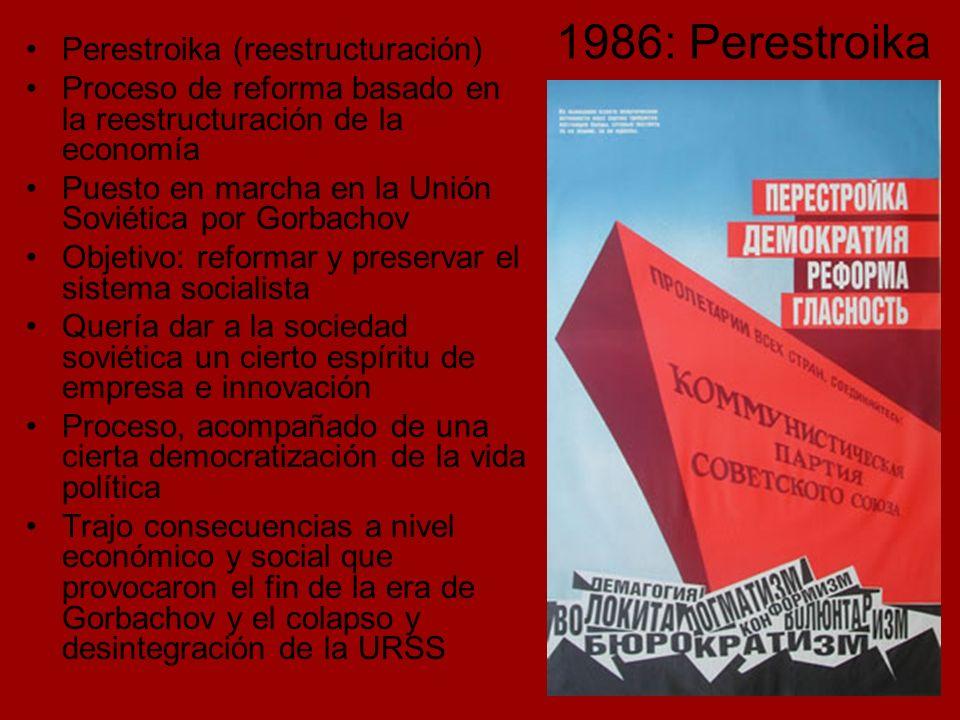 1986: Perestroika Perestroika (reestructuración)