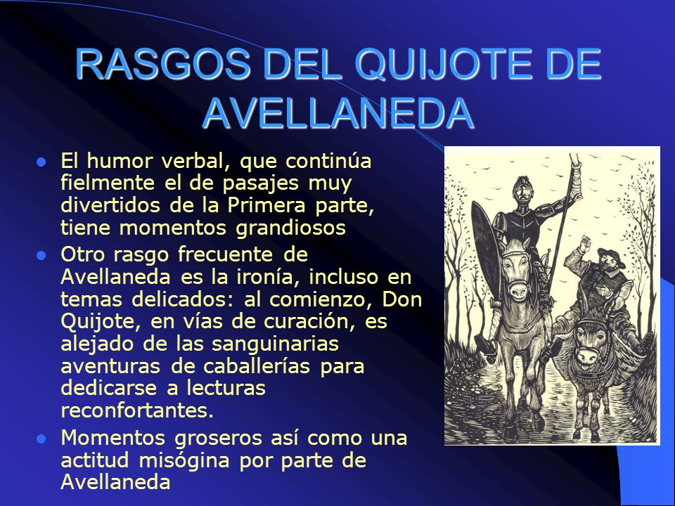 RASGOS DEL QUIJOTE DE AVELLANEDA