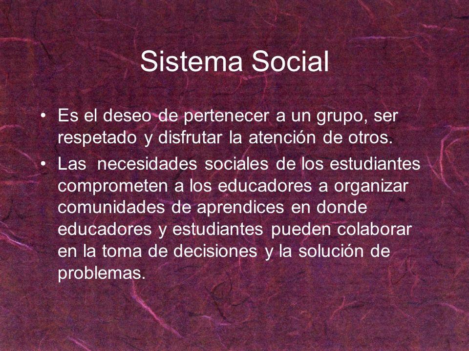 Sistema Social Es el deseo de pertenecer a un grupo, ser respetado y disfrutar la atención de otros.