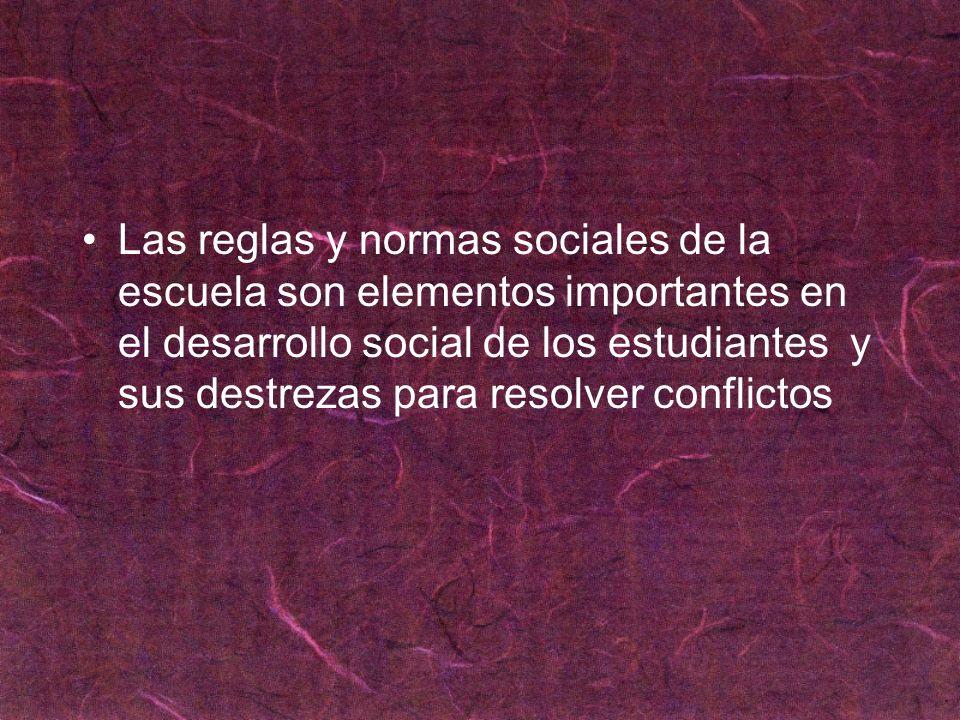 Las reglas y normas sociales de la escuela son elementos importantes en el desarrollo social de los estudiantes y sus destrezas para resolver conflictos