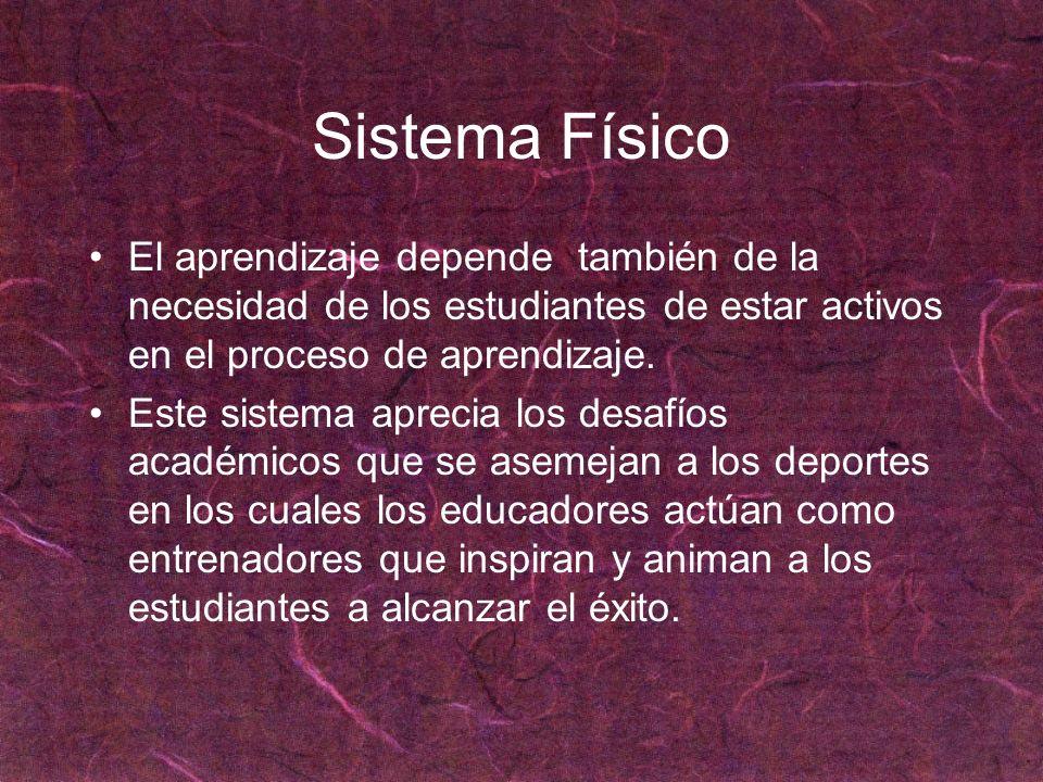Sistema FísicoEl aprendizaje depende también de la necesidad de los estudiantes de estar activos en el proceso de aprendizaje.