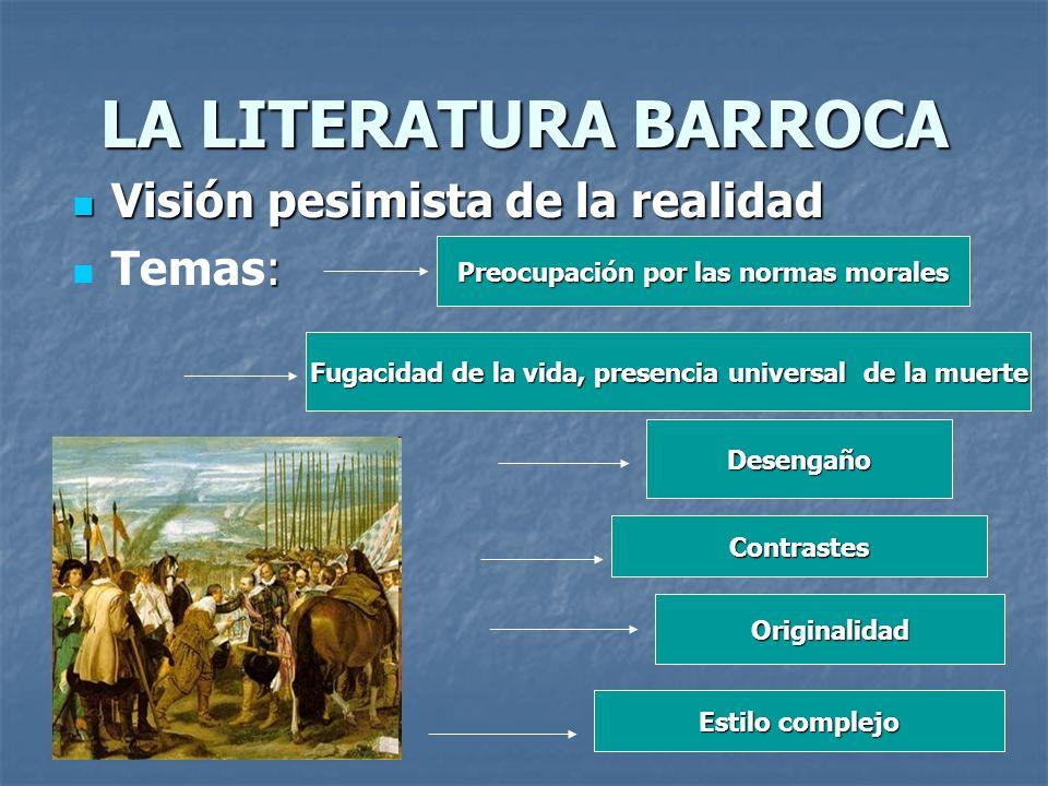 LA LITERATURA BARROCA Visión pesimista de la realidad Temas: