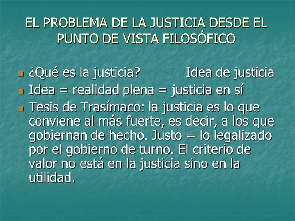 EL PROBLEMA DE LA JUSTICIA DESDE EL PUNTO DE VISTA FILOSÓFICO