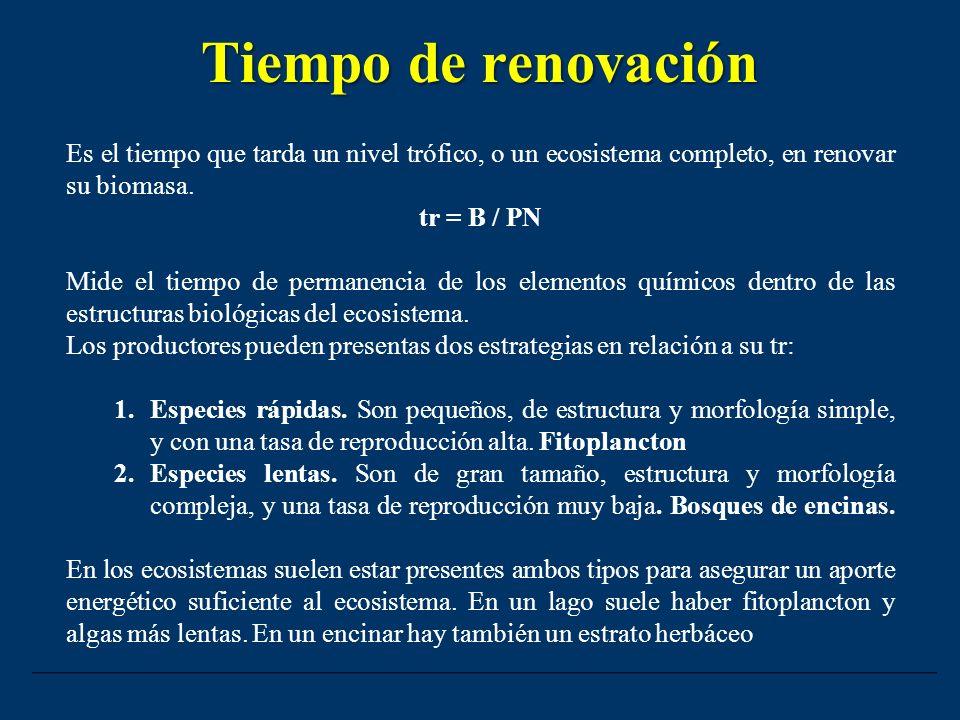 Tiempo de renovación Es el tiempo que tarda un nivel trófico, o un ecosistema completo, en renovar su biomasa.