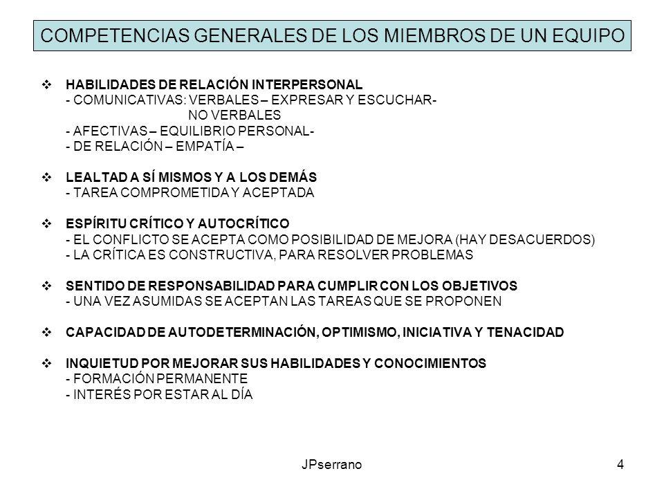 COMPETENCIAS GENERALES DE LOS MIEMBROS DE UN EQUIPO