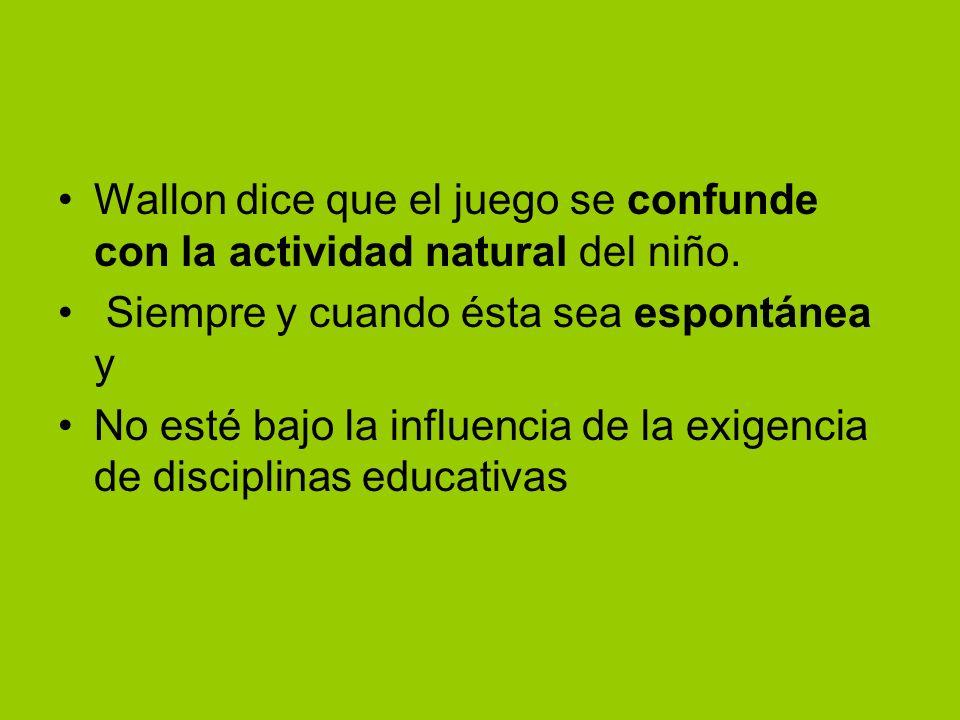 Wallon dice que el juego se confunde con la actividad natural del niño.