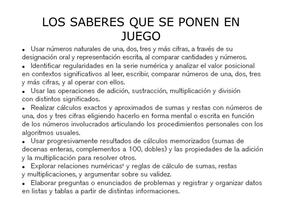 LOS SABERES QUE SE PONEN EN JUEGO