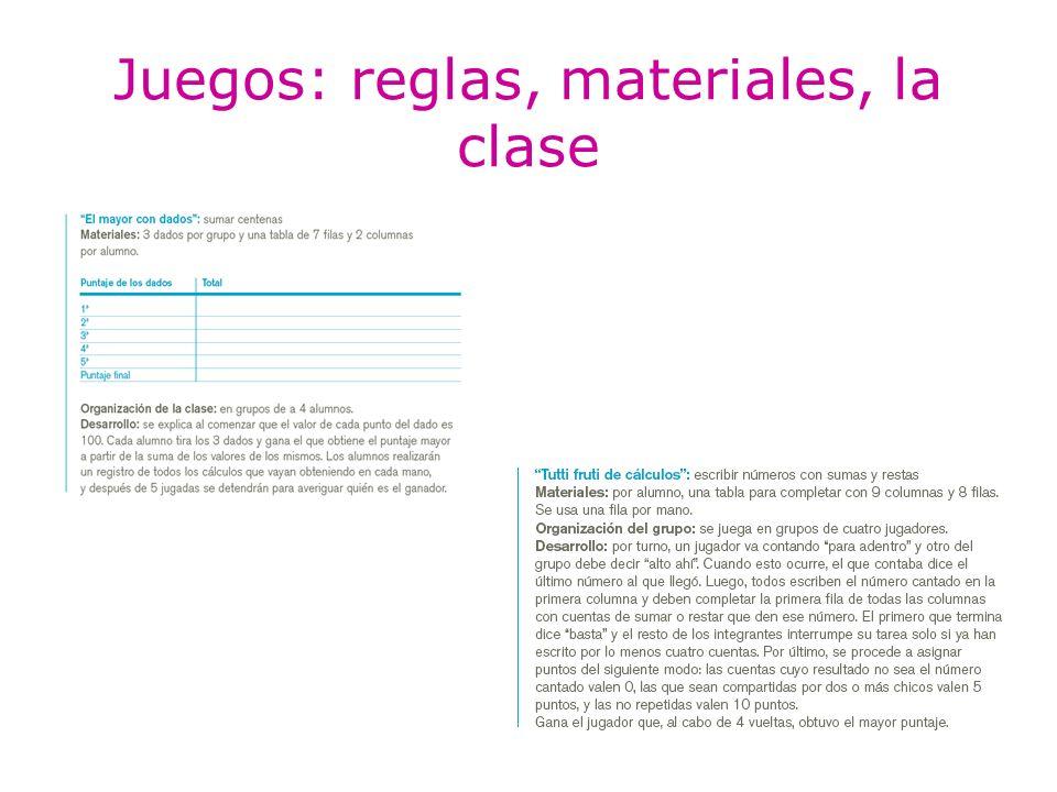 Juegos: reglas, materiales, la clase
