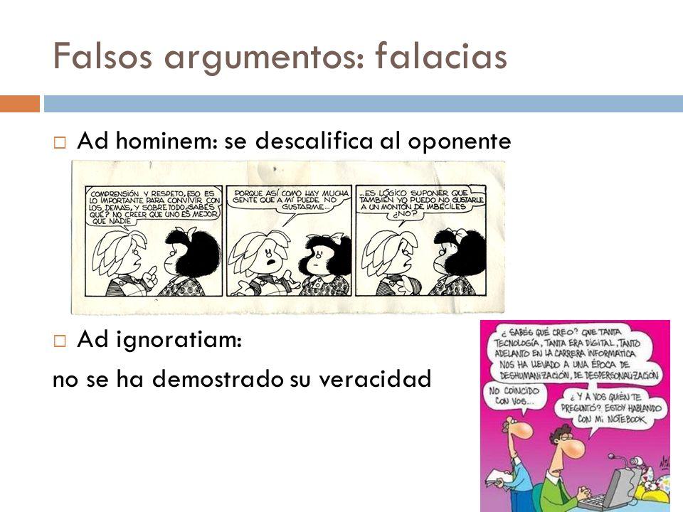 Falsos argumentos: falacias