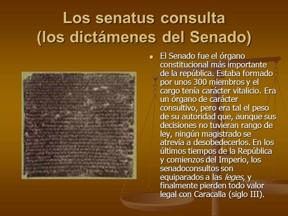 Los senatus consulta (los dictámenes del Senado)