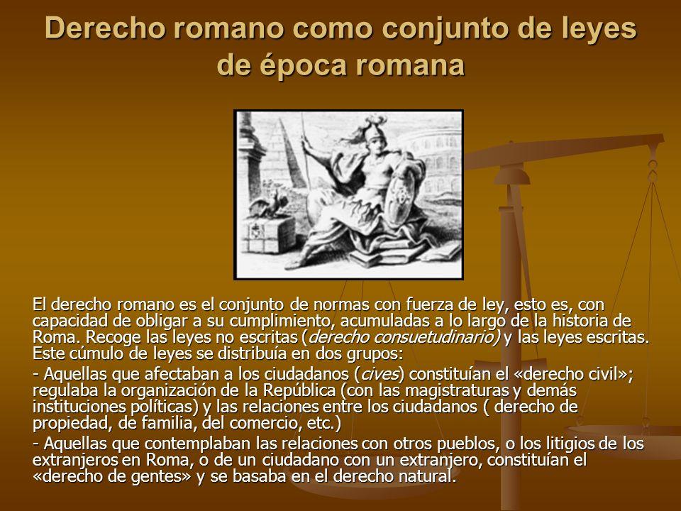 Derecho romano como conjunto de leyes de época romana