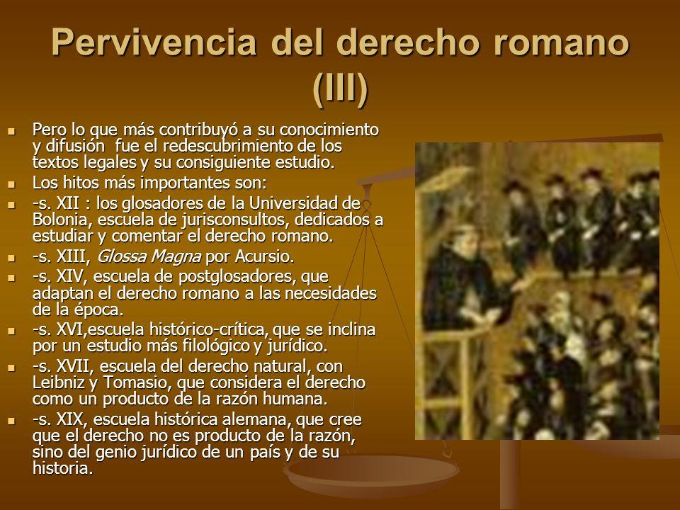 Pervivencia del derecho romano (III)