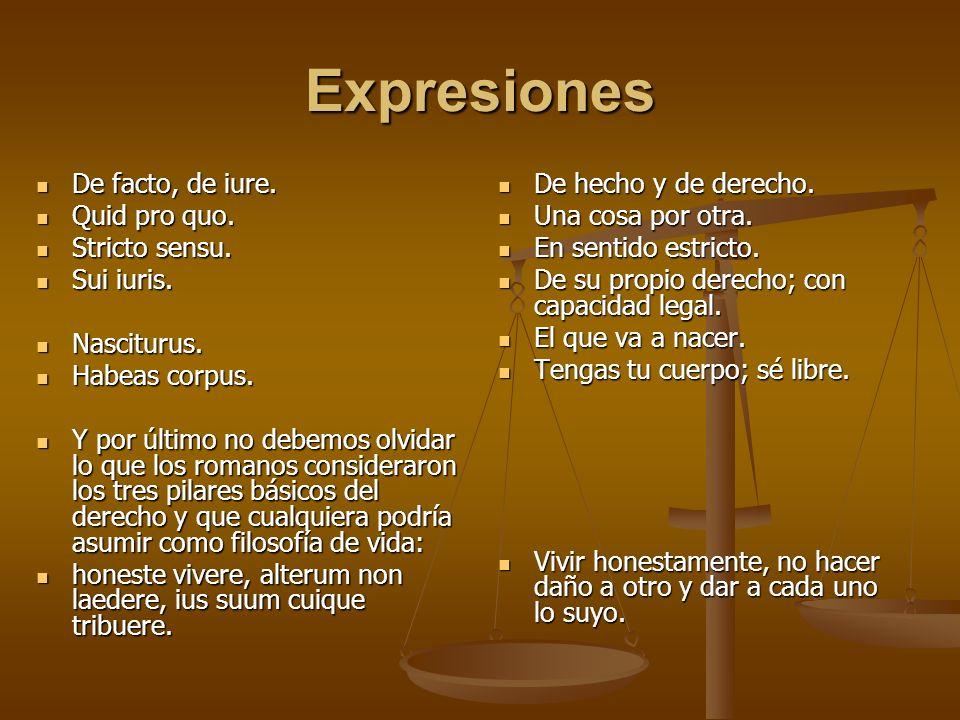 Expresiones De facto, de iure. Quid pro quo. Stricto sensu. Sui iuris.