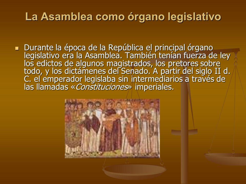 La Asamblea como órgano legislativo