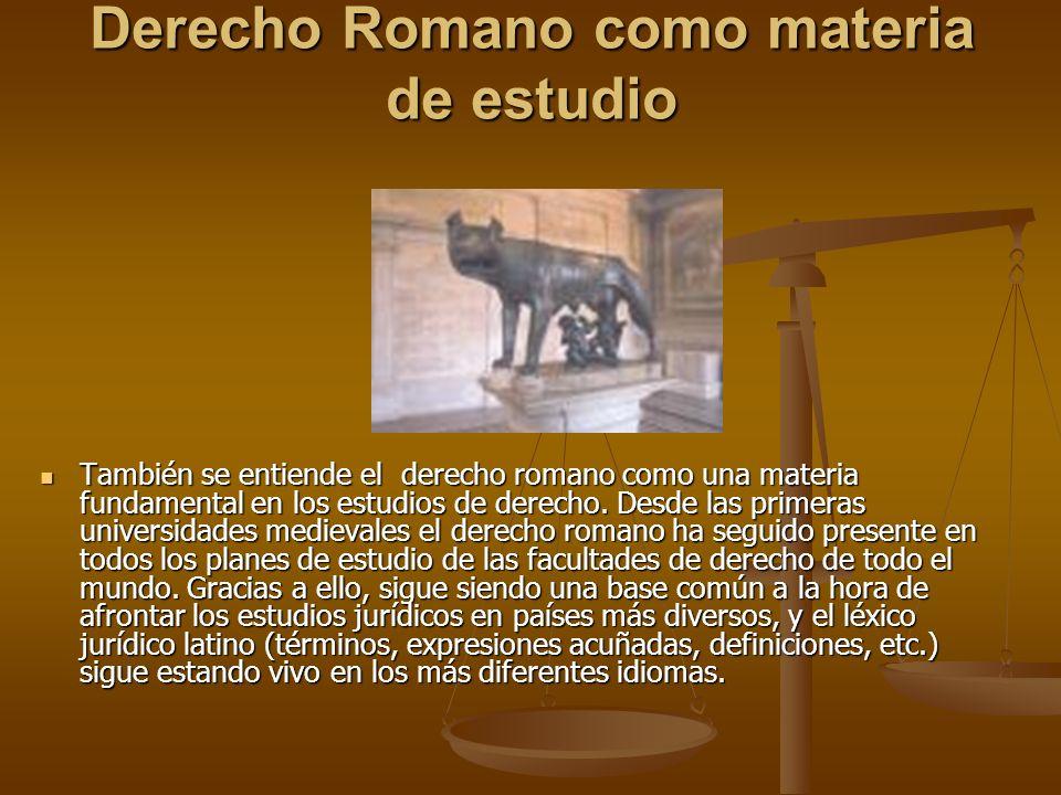 Derecho Romano como materia de estudio