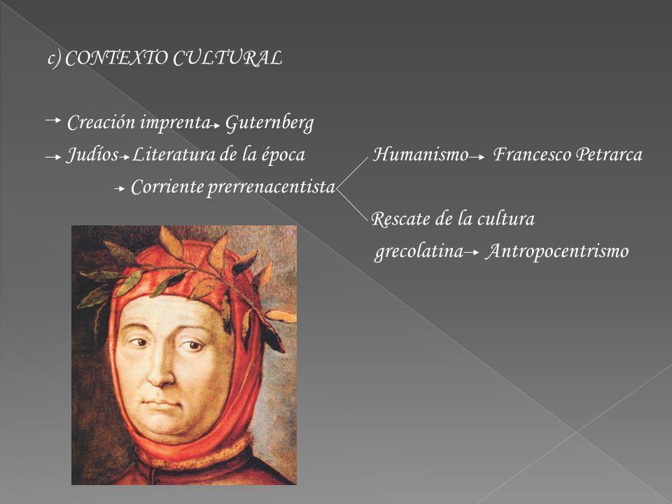 c) CONTEXTO CULTURAL Creación imprenta Guternberg Judíos Literatura de la época Humanismo Francesco Petrarca Corriente prerrenacentista Rescate de la cultura grecolatina Antropocentrismo