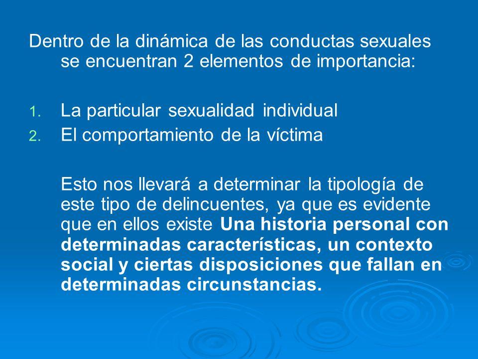 Dentro de la dinámica de las conductas sexuales se encuentran 2 elementos de importancia: