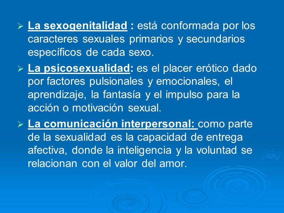 La sexogenitalidad : está conformada por los caracteres sexuales primarios y secundarios específicos de cada sexo.