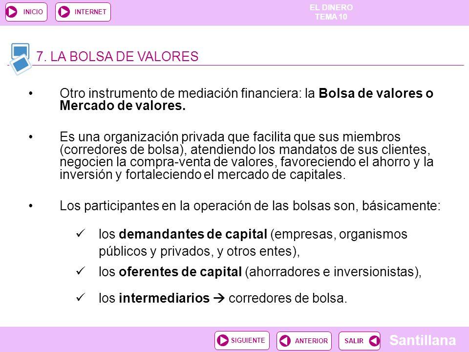 7. LA BOLSA DE VALORES Otro instrumento de mediación financiera: la Bolsa de valores o Mercado de valores.