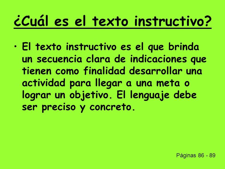 ¿Cuál es el texto instructivo