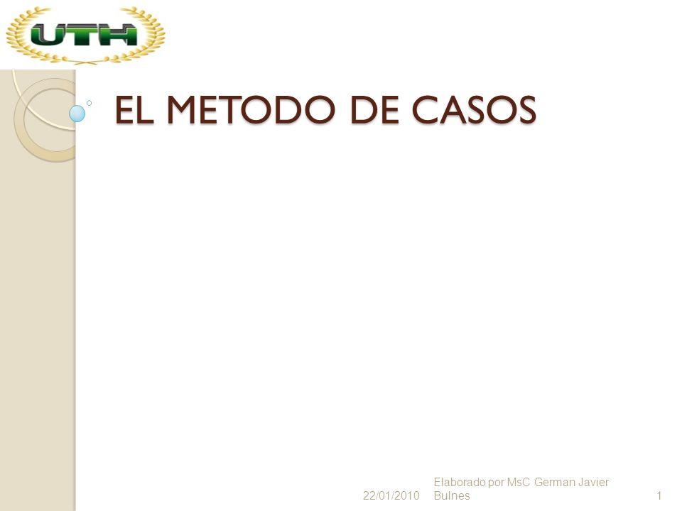 EL METODO DE CASOS 22/01/2010 Elaborado por MsC German Javier Bulnes