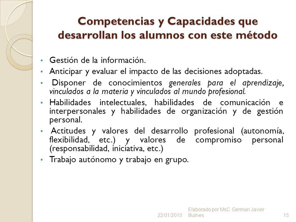 Competencias y Capacidades que desarrollan los alumnos con este método