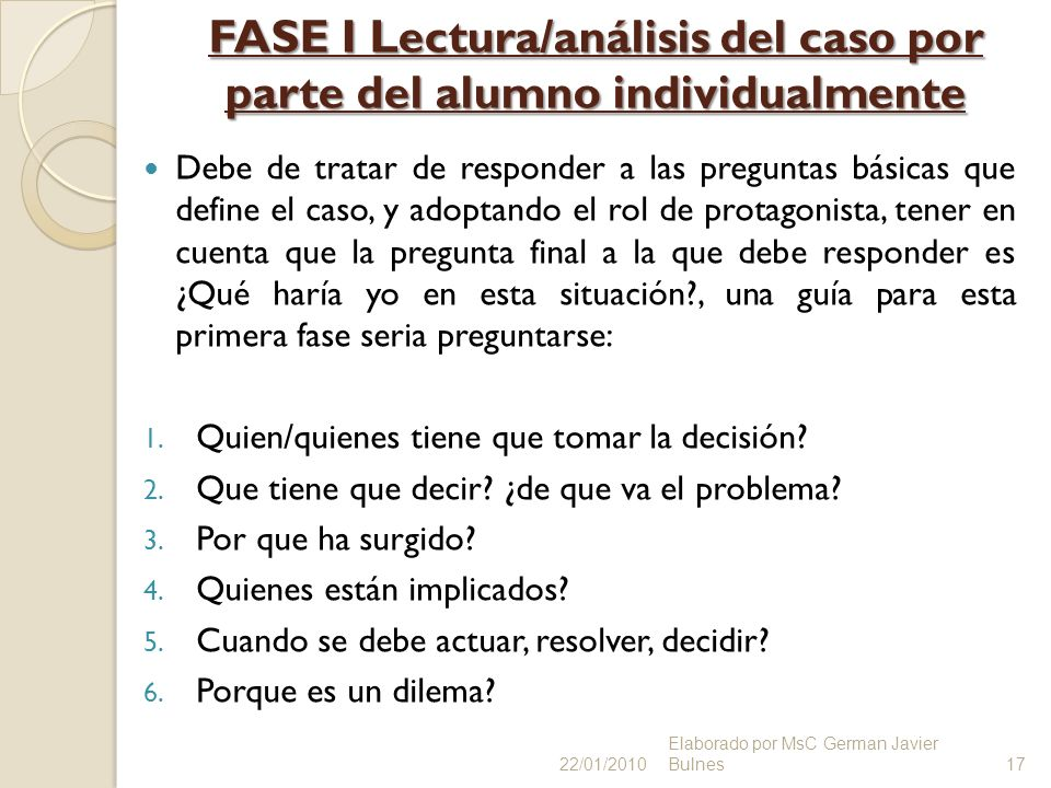 FASE I Lectura/análisis del caso por parte del alumno individualmente