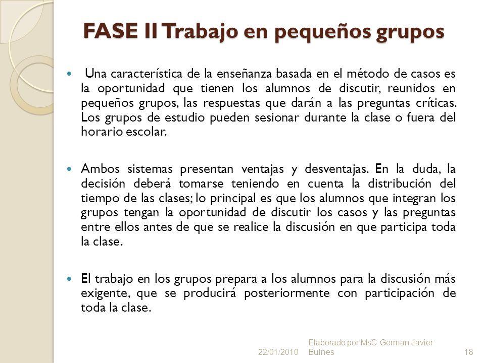 FASE II Trabajo en pequeños grupos