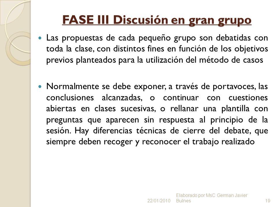 FASE III Discusión en gran grupo
