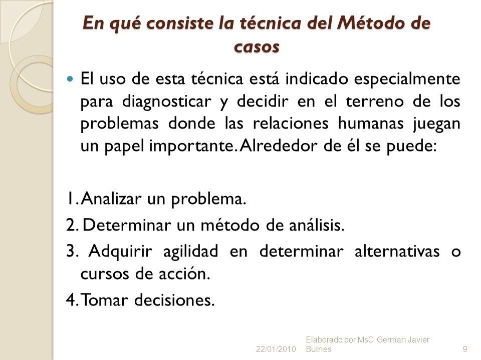 En qué consiste la técnica del Método de casos