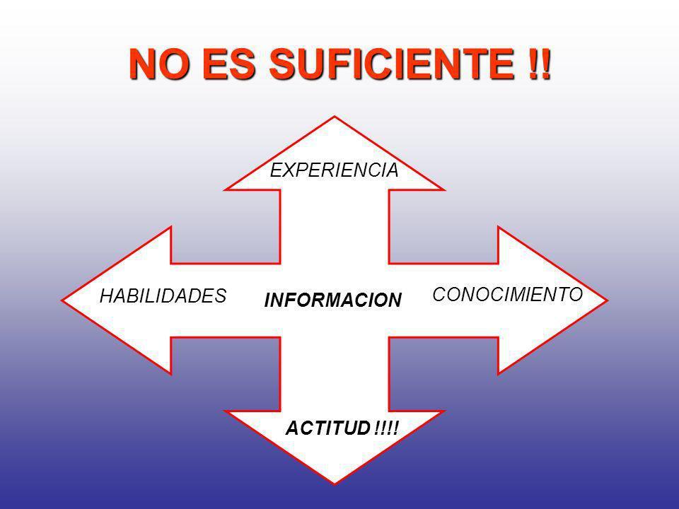 NO ES SUFICIENTE !! EXPERIENCIA INFORMACION HABILIDADES ACTITUD !!!!