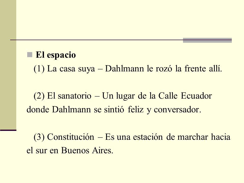 El espacio (1) La casa suya – Dahlmann le rozó la frente allí. (2) El sanatorio – Un lugar de la Calle Ecuador.