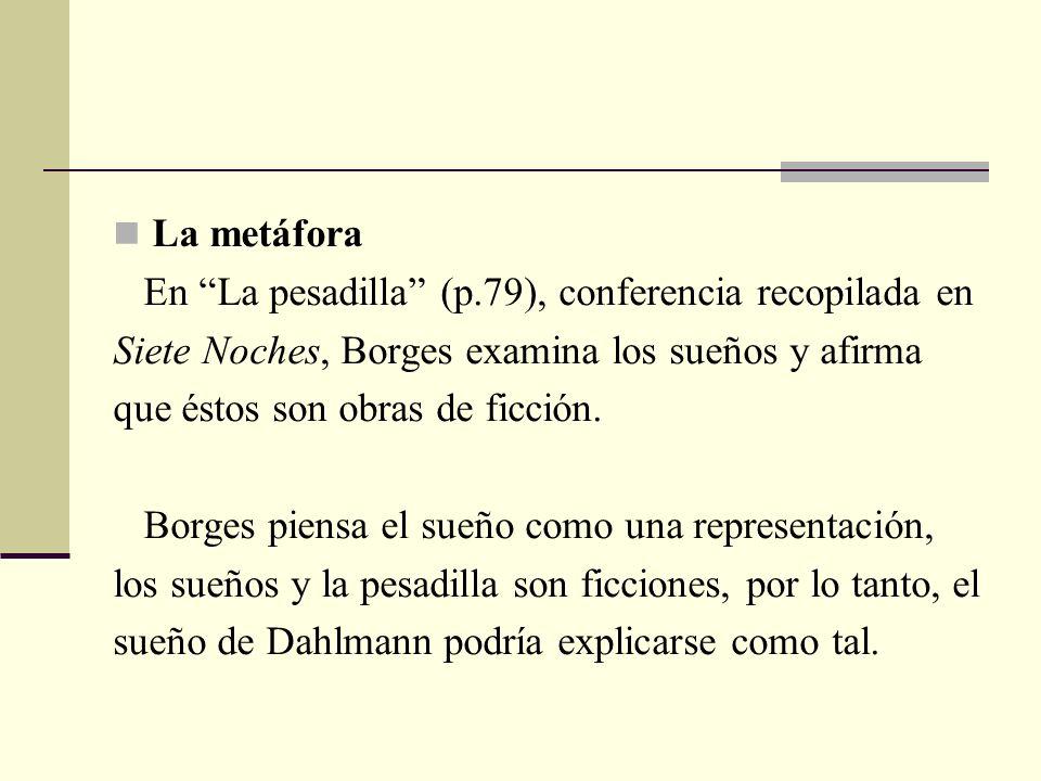La metáfora En La pesadilla (p.79), conferencia recopilada en. Siete Noches, Borges examina los sueños y afirma.