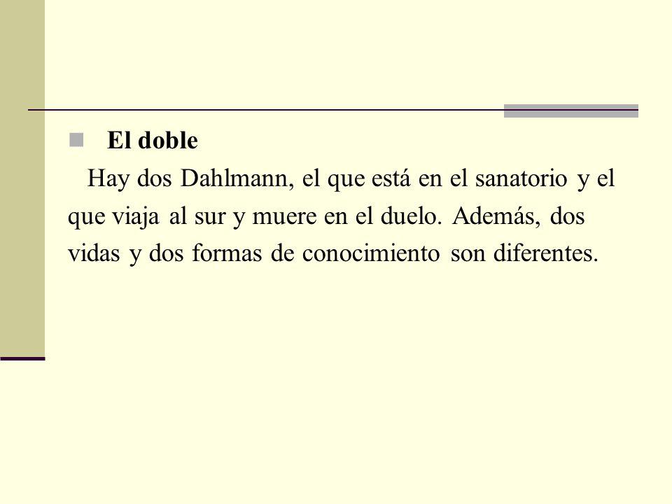 El doble Hay dos Dahlmann, el que está en el sanatorio y el. que viaja al sur y muere en el duelo. Además, dos.