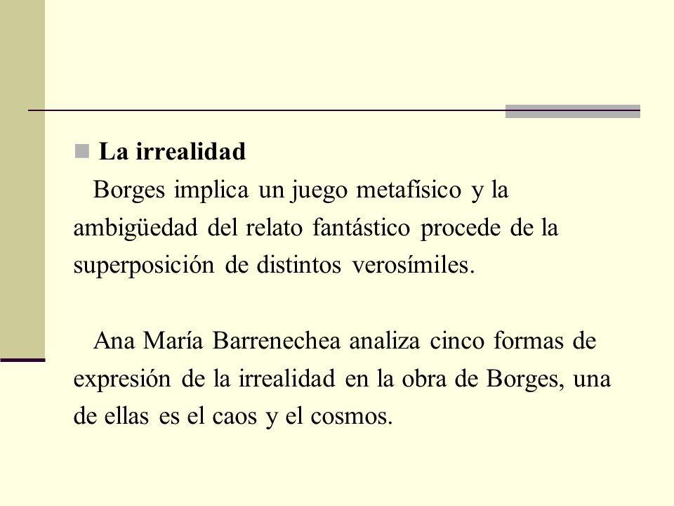 La irrealidad Borges implica un juego metafísico y la. ambigüedad del relato fantástico procede de la.