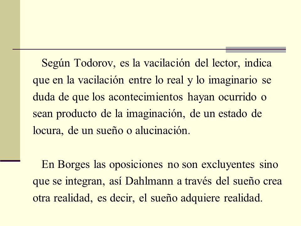 Según Todorov, es la vacilación del lector, indica