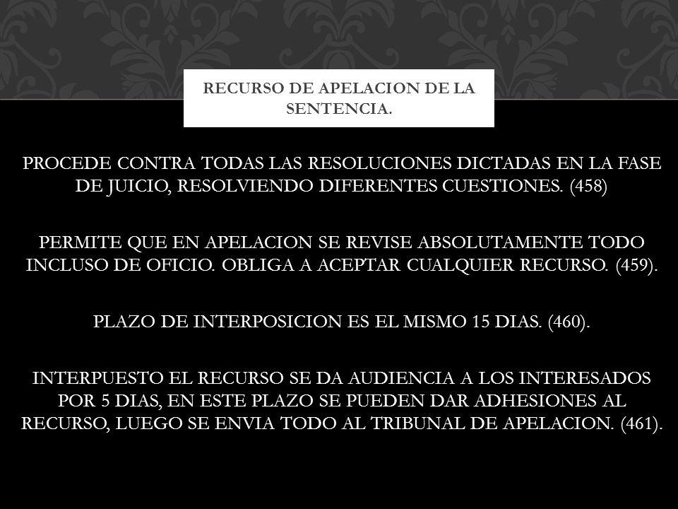 RECURSO DE APELACION DE LA SENTENCIA.