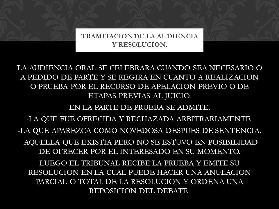 TRAMITACION DE LA AUDIENCIA Y RESOLUCION.