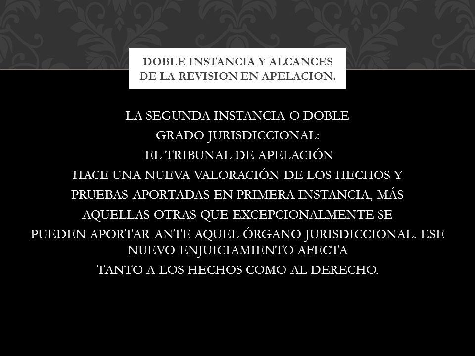 DOBLE INSTANCIA Y ALCANCES DE LA REVISION EN APELACION.
