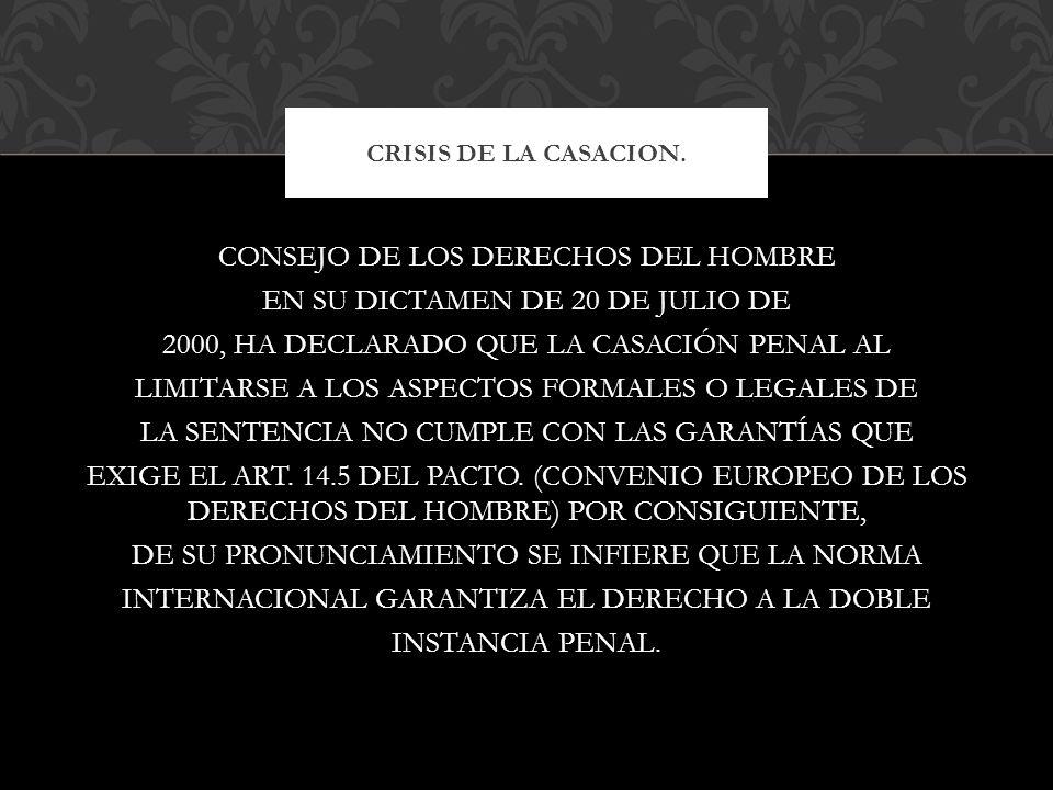 CRISIS DE LA CASACION.